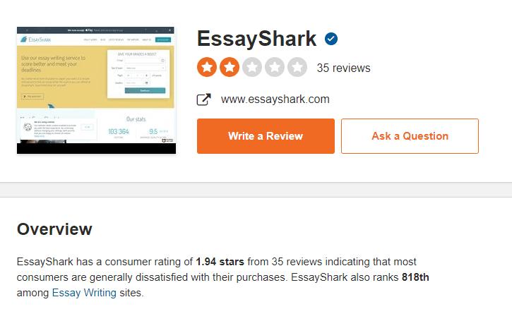 essayshark.com-sitejabber-rating